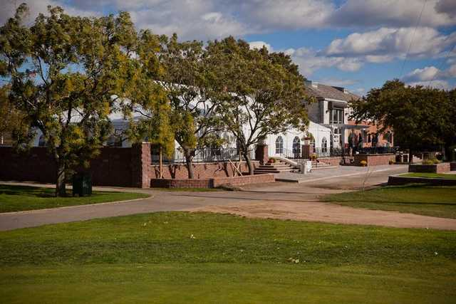 A view from the practice area near the 18th green of the event center at Marine Park Golf Course