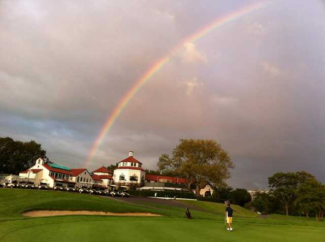 A rainbow view over the clubhouse at Douglaston Golf Club