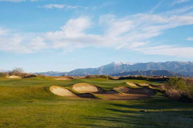 A view of the heavily bunkered 9th hole at Legends Course from Morongo Golf Club at Tukwet Canyon