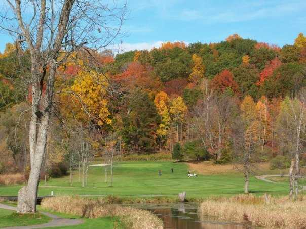 A fall view of green #16 at Wild Wood Country Club