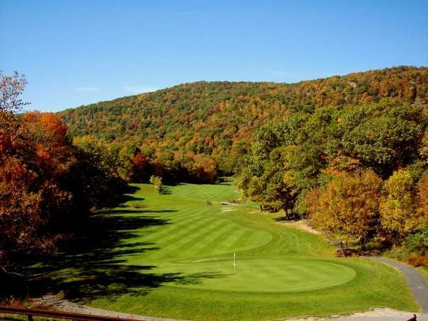 A view of the 15th green and fairway at West Point Golf Course