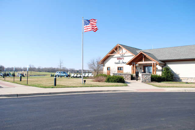 A view of the clubhouse at Coyote Run Golf Course