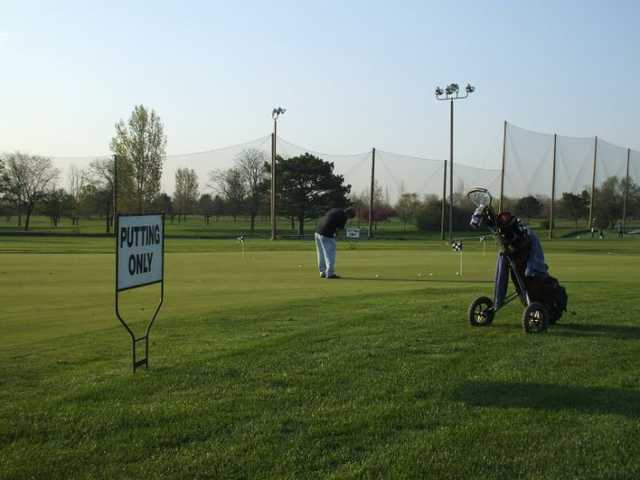 A view of the practice putting green at Fresh Meadow Golf Course