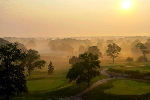 Morning fog over Eaglewood Resort & Spa