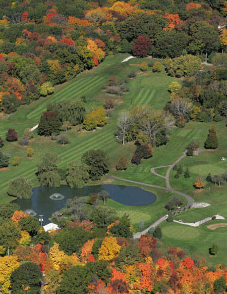 A fall aerial view from Woodruff Golf Course