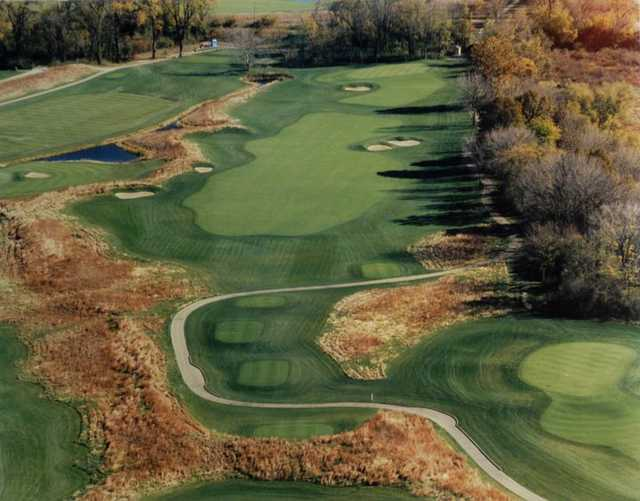 Aerial view of green and fairway #9 at Gateway National Golf Links