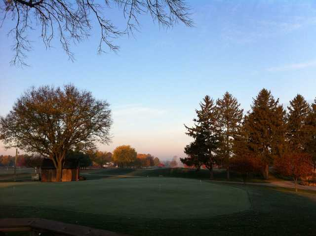 A fall view of the practice putting green at Rail Golf Club
