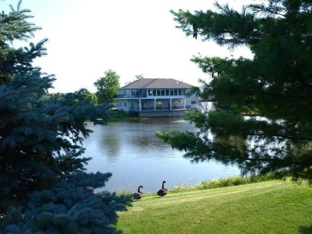 A view of the clubhouse at Mystic Oak Golf Course