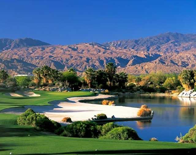 A view of the 17th green at Firecliff Course from Desert Willow Golf Resort