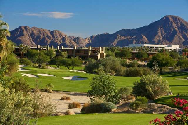 A view of the 7th hole at Mountain View Course from Desert Willow Golf Resort