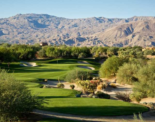 A view of green #5 at Mountain View Course from Desert Willow Golf Resort