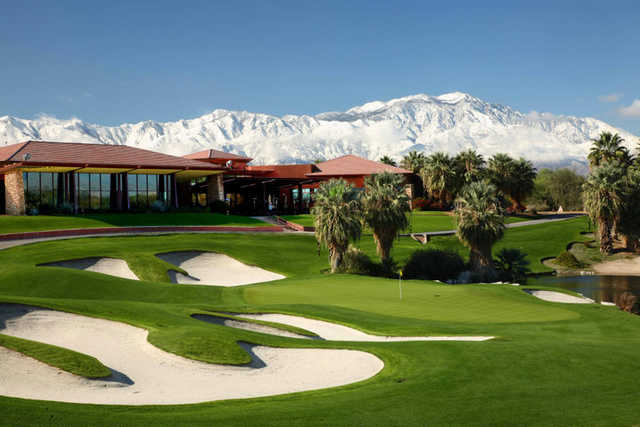A view of the clubhouse at Firecliff Course from Desert Willow Golf Resort