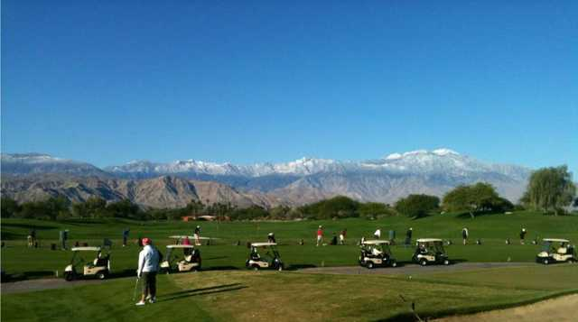 A view of the driving range at Firecliff Course from Desert Willow Golf Resort