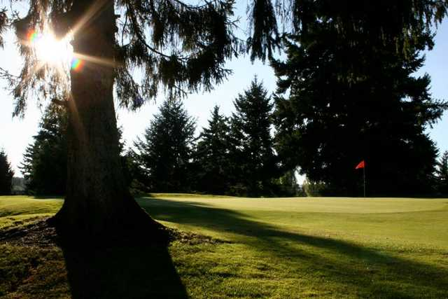A sunny view of green #9 at Allenmore Golf Course
