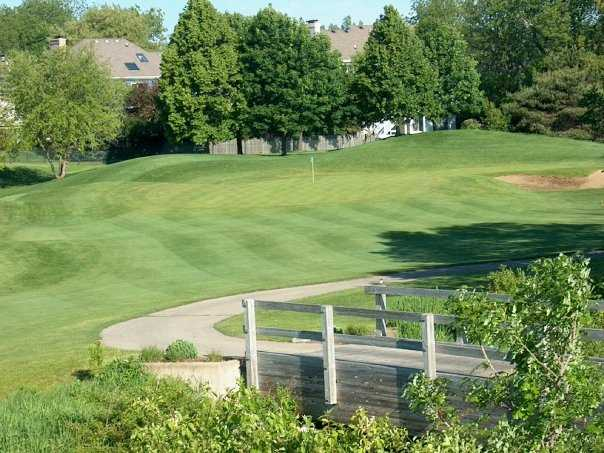 A view of the 14th green at Seven Bridges Golf Club