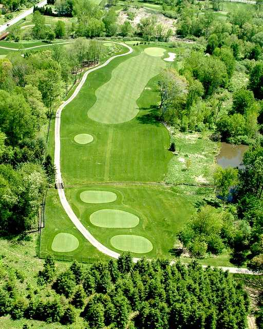 Aerial view of the 7th hole at Mud Run Golf Course