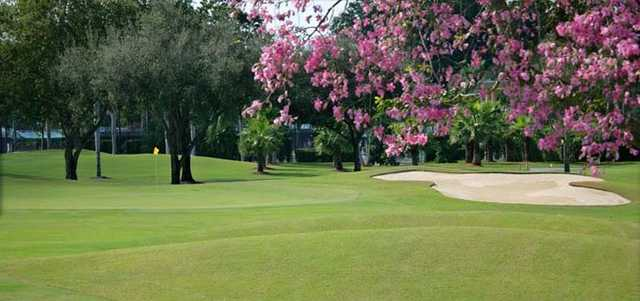 A spring view of the 9th green at South from Vineyards of Naples.