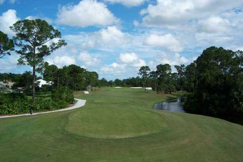 A view of hole #18 from tee at Championship Course from Legacy Golf & Tennis Club.