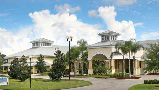 A view of the clubhouse at Riverside Golf Course