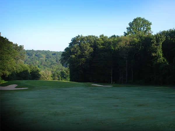 A view of the 6th green flanked by bunkers at Black from D. Fairchild Wheeler Golf Course
