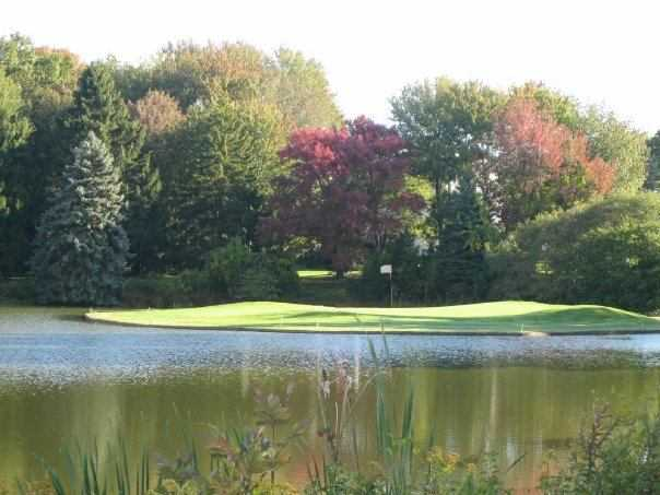 A view of the island hole #8 at Minnechaug Golf Course