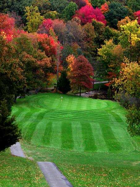 A fall view of the 10th green at Orange Hills Country Club
