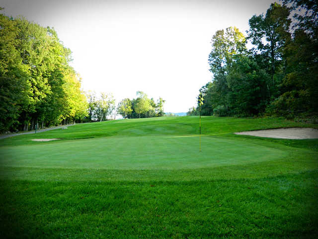 A view of green #15 at Crotched Mountain Golf Club