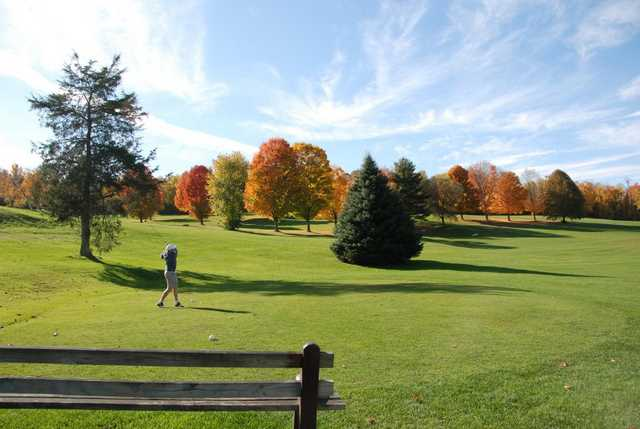 A fall view from tee at Mt Anthony Golf & Tennis Club