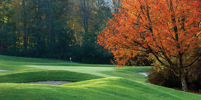 A fall view of the 17th green at Equinox Golf Club