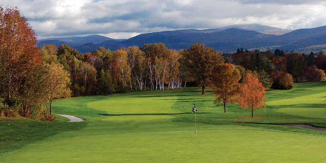 A view of the 18th hole at Equinox Golf Club