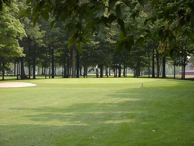 A view of green with bunker on the left at Nature Trails Golf Course