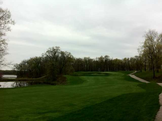 A view of green #18 from Eagle Creek Golf Course