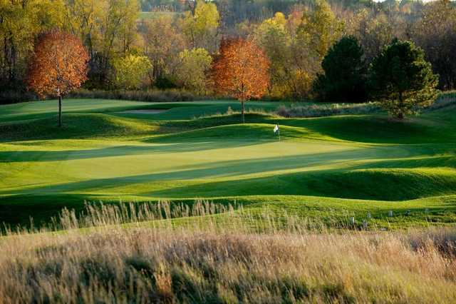 A fall sunny day view of a green at Washington County Golf Course