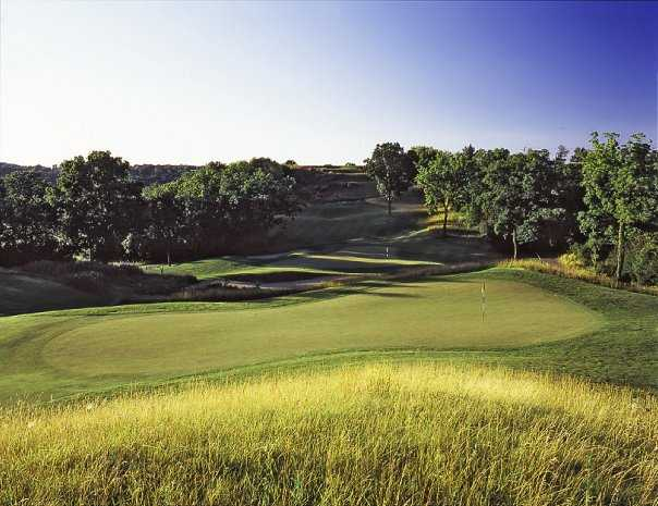 A view of green #16 at Hawk's View Golf Club - Como Crossings Course