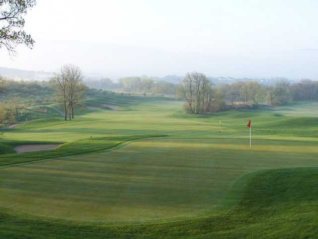 A view of the 9th green at University Ridge Golf Course