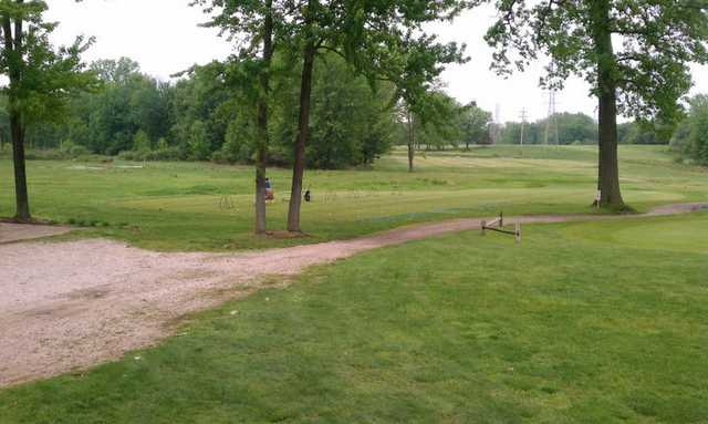 A view of the driving range tees at Meridian Sun Golf Club.