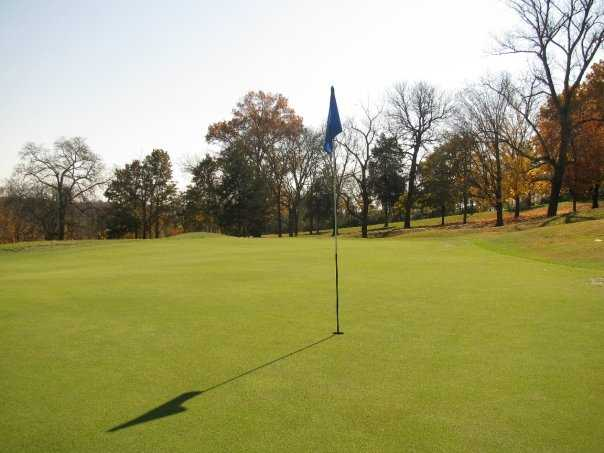 A view of the 18th hole at Ravenwood Golf Club