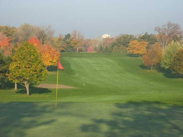 A view from green #6 back at tee box at Greenhaven Golf Course