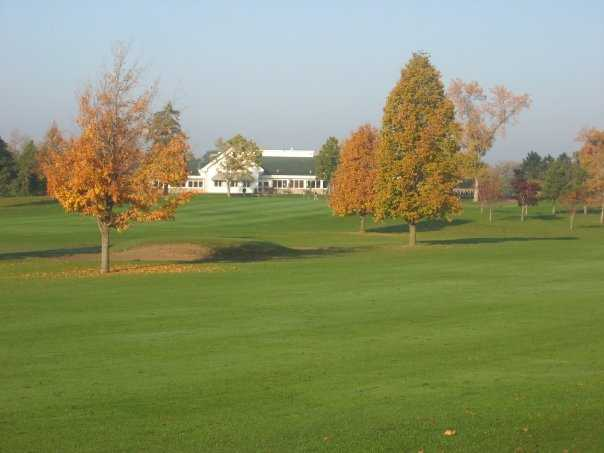 A view from fairway #5 of the clubhouse at Greenhaven Golf Course