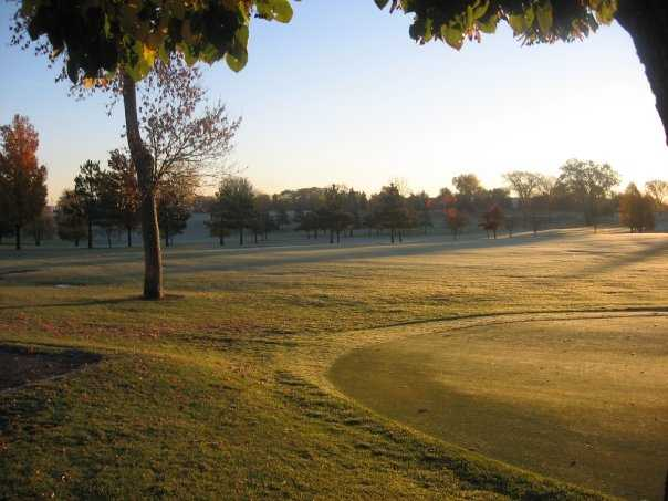 A view from the patio area of the 1st fairway and practice green at Greenhaven Golf Course