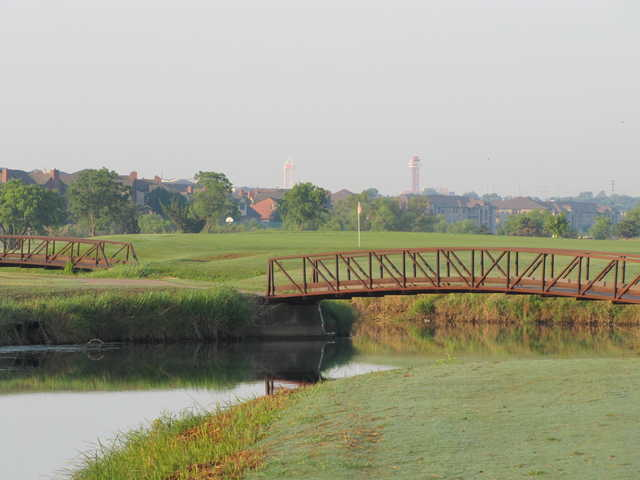 A view over the bridge of a green at Riverside Golf Club