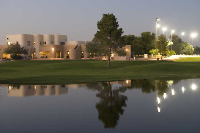 An evening view of the clubhouse at Western Skies Golf Club