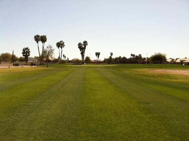 A view of hole #15 at Painted Mountain Golf Club