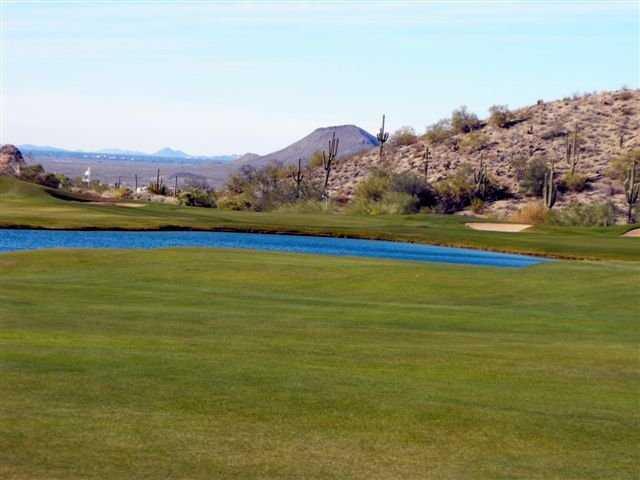 A view of the 18th hole at Las Sendas Golf Club
