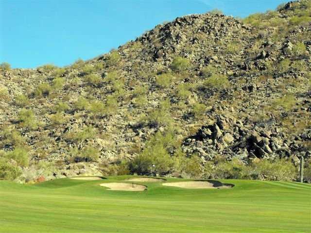 A view of the signature hole #4 at Las Sendas Golf Club