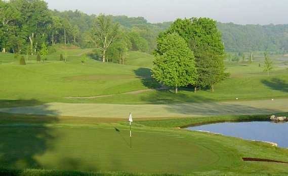A view of green with water coming into play at Old Capital Golf Club
