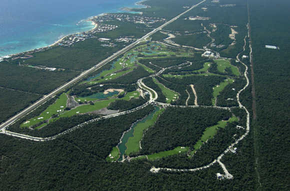 Aerial view of the Riviera Maya Golf Club