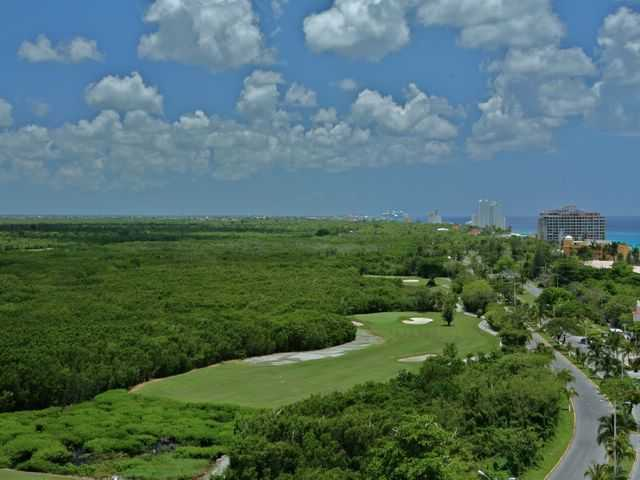 Aerial view of hole #16 at Cozumel Country Club