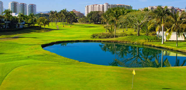 A view of a green with water coming into play at Marina Vallarta Golf Club.