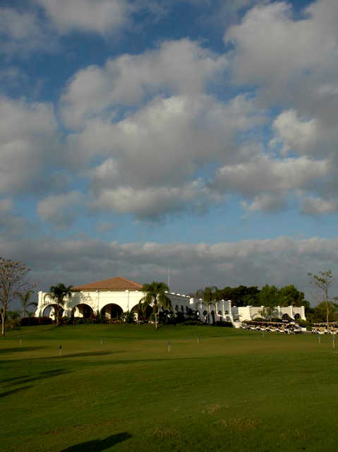A view of the clubhouse and putting green at Vista Vallarta Golf Club